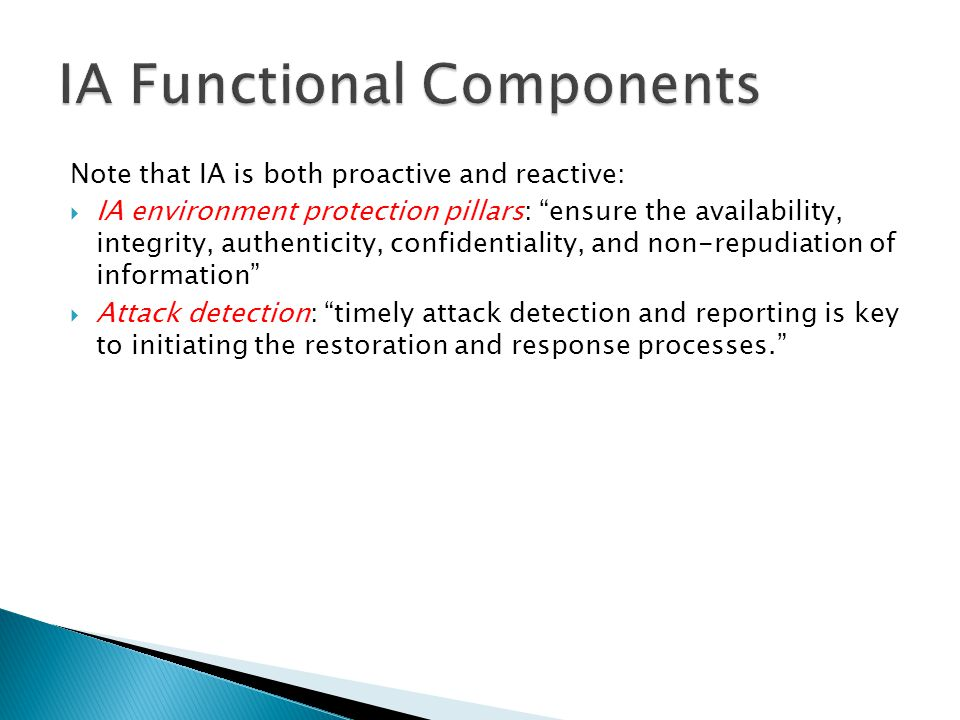 IA Functional Components