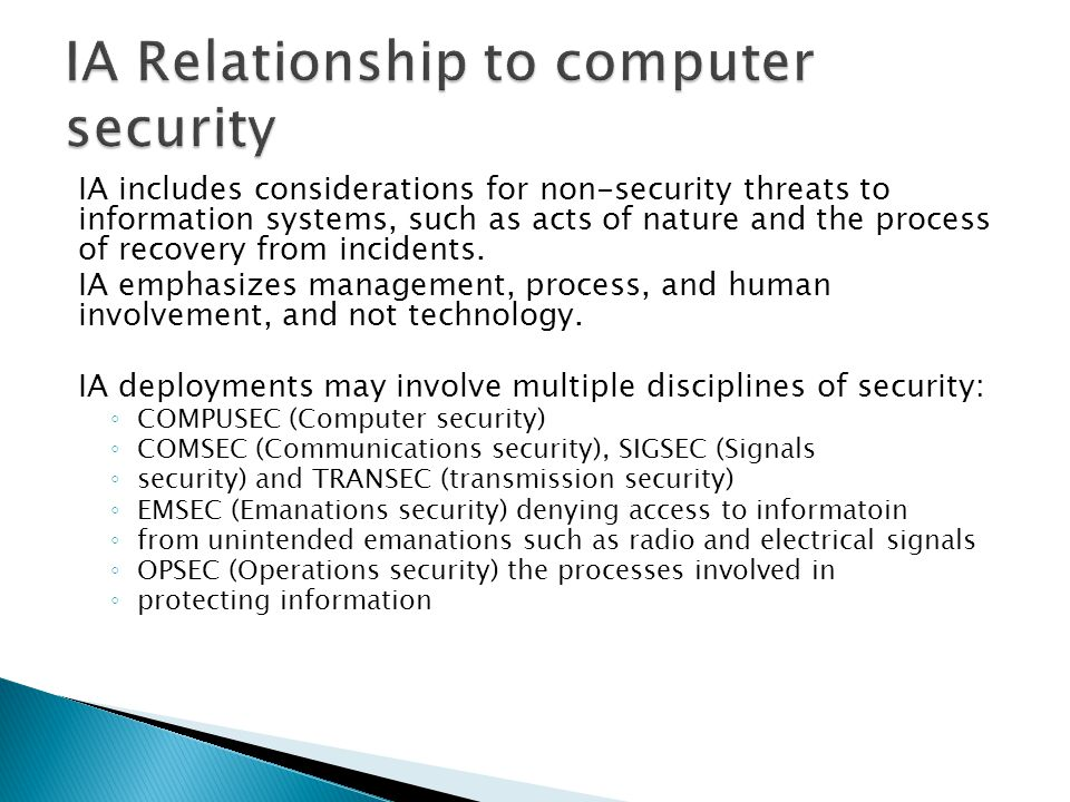 IA Relationship to computer security
