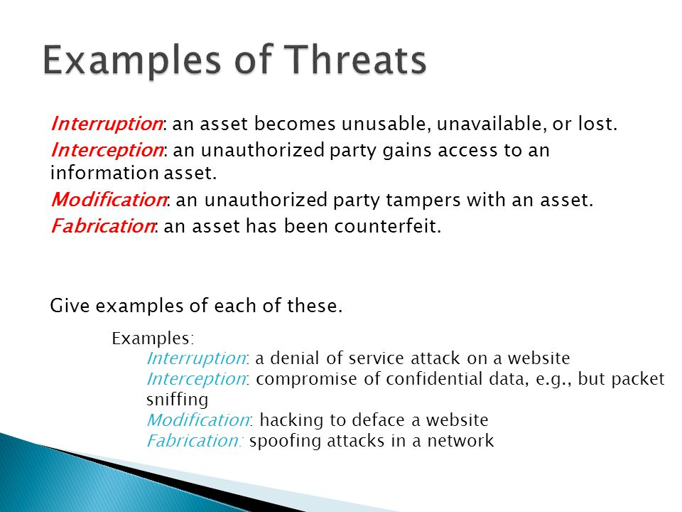 Examples of Threats