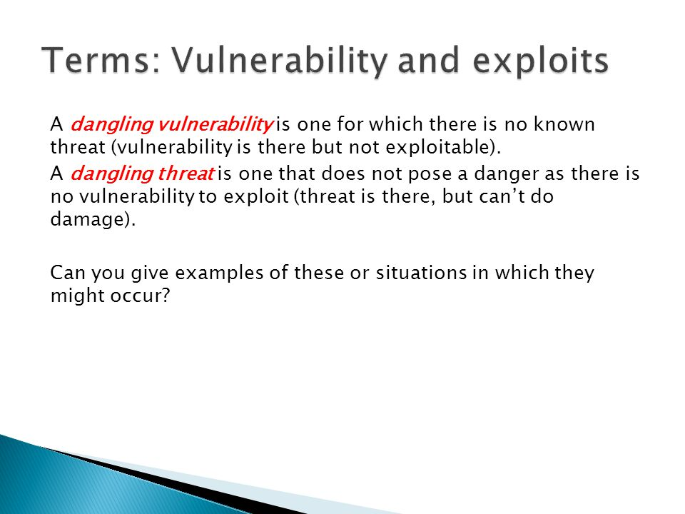 Terms: Vulnerability and exploits