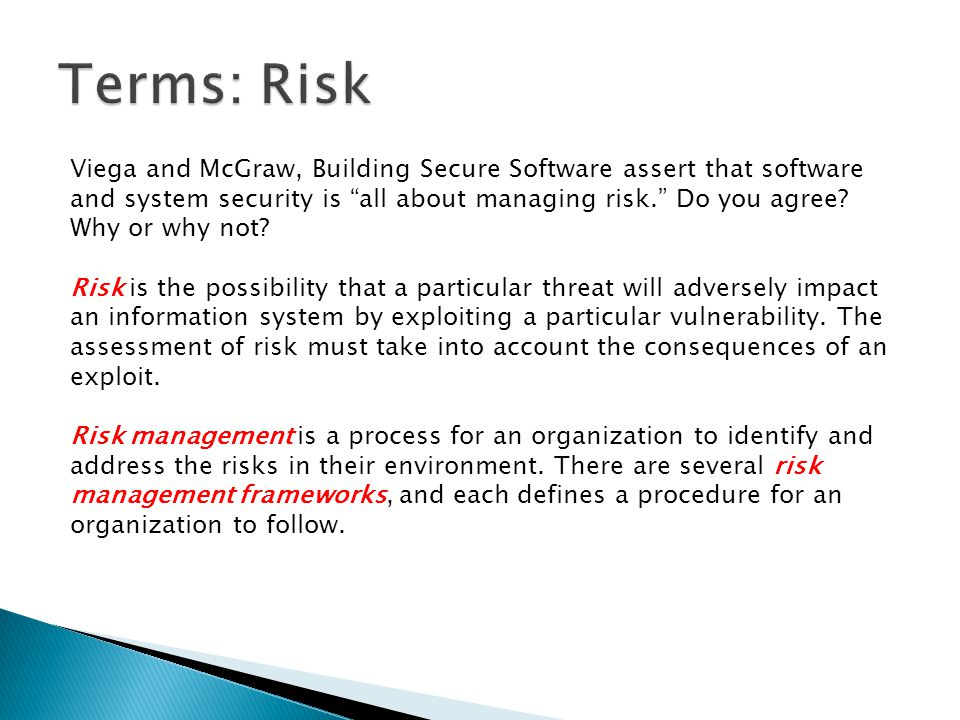 Terms: Risk