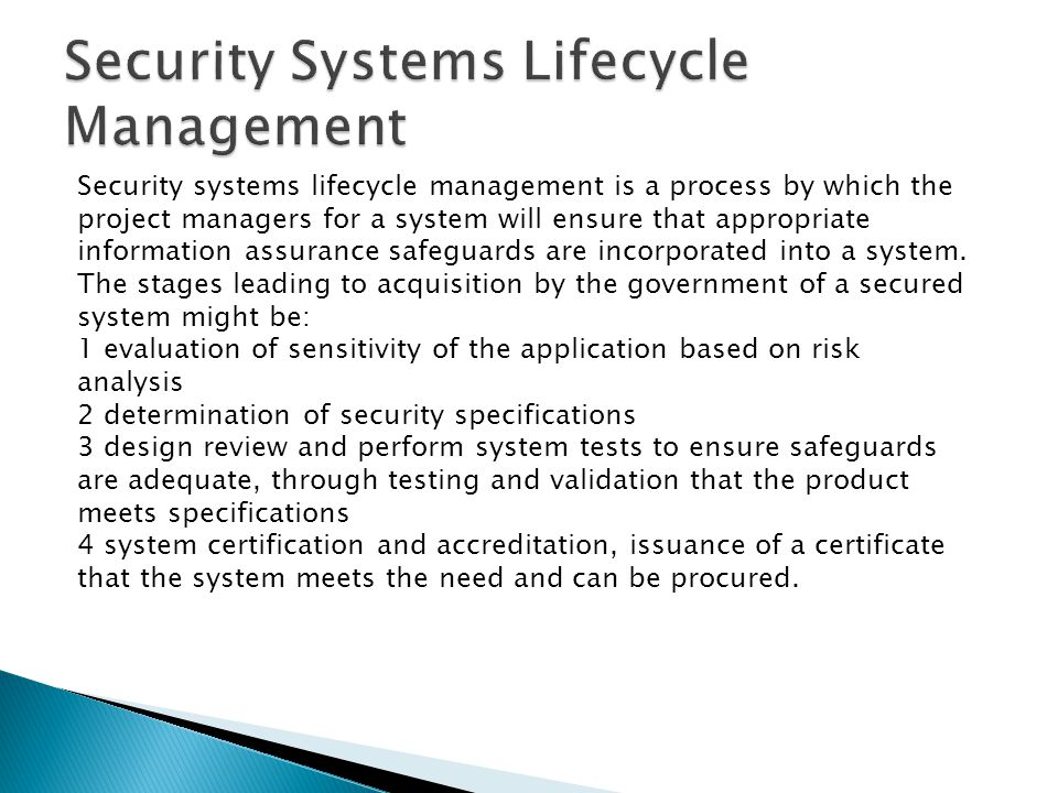 Security Systems Lifecycle Management