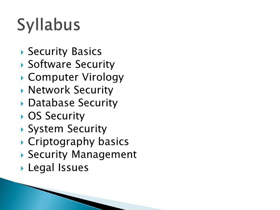 Syllabus Security Basics Software Security Computer Virology