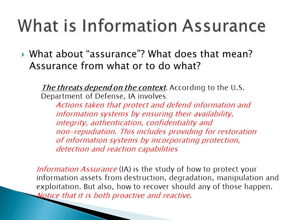 What is Information Assurance