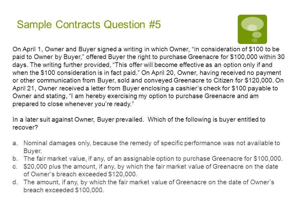 Sample Contracts Question #5