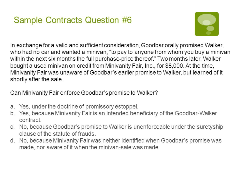 Sample Contracts Question #6