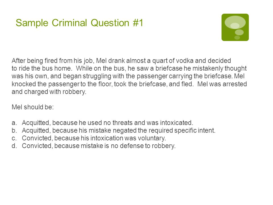 Sample Criminal Question #1