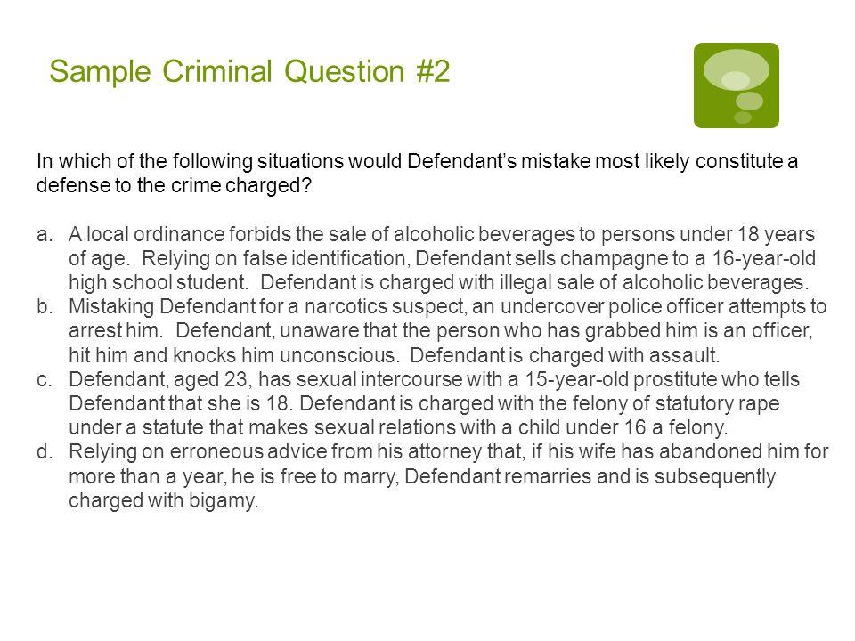Sample Criminal Question #2