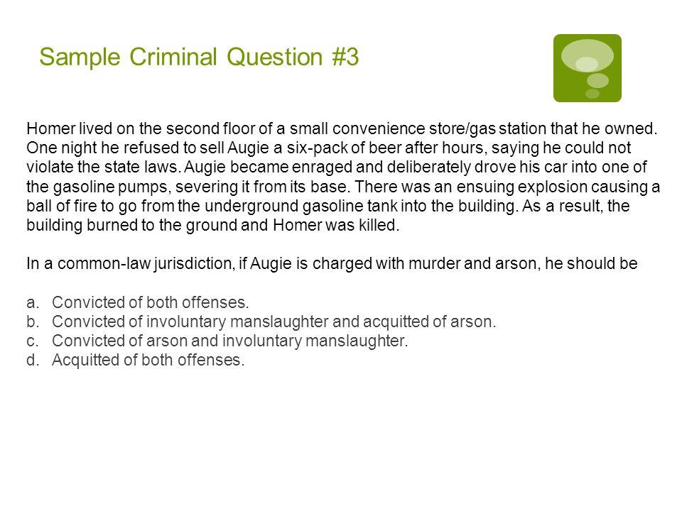Sample Criminal Question #3