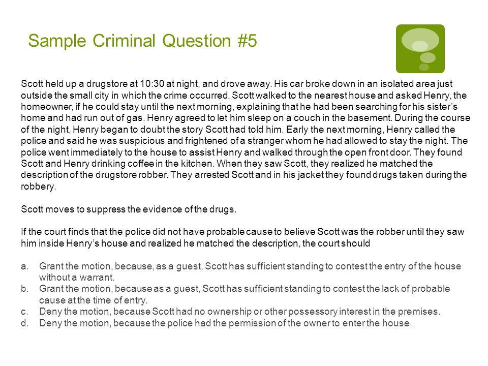 Sample Criminal Question #5