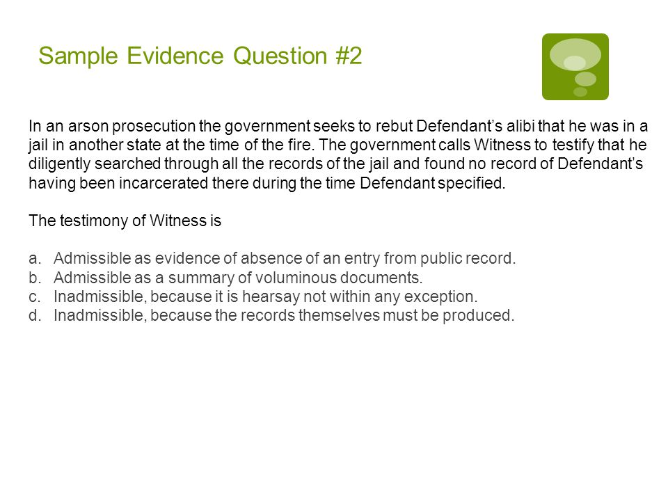 Sample Evidence Question #2