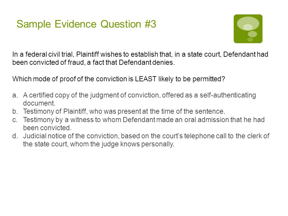 Sample Evidence Question #3