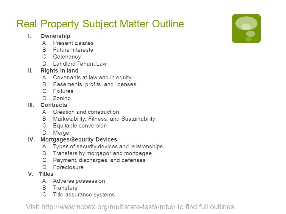 Real Property Subject Matter Outline
