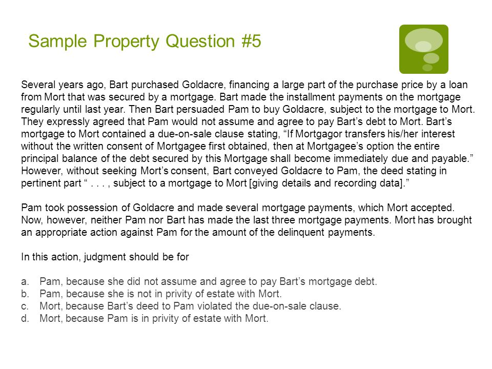 Sample Property Question #5