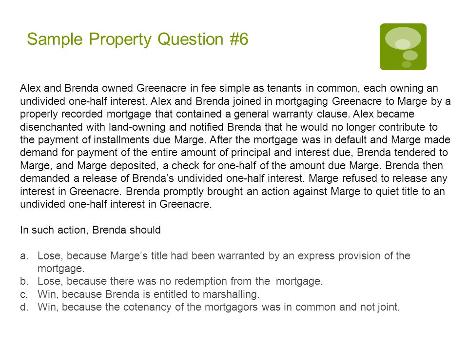 Sample Property Question #6