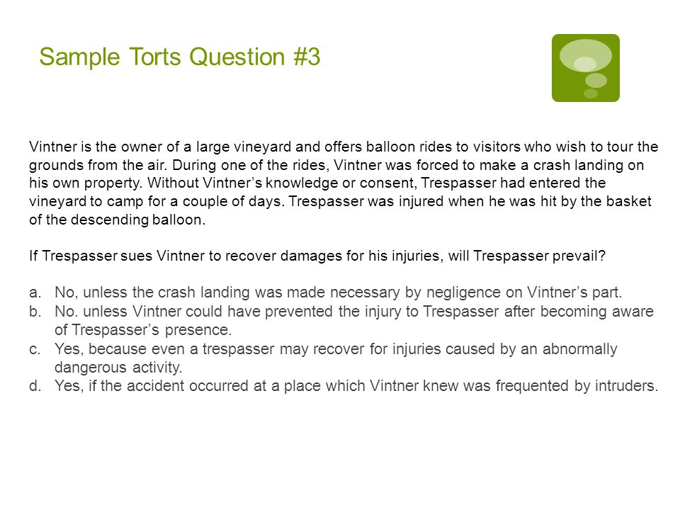 Sample Torts Question #3