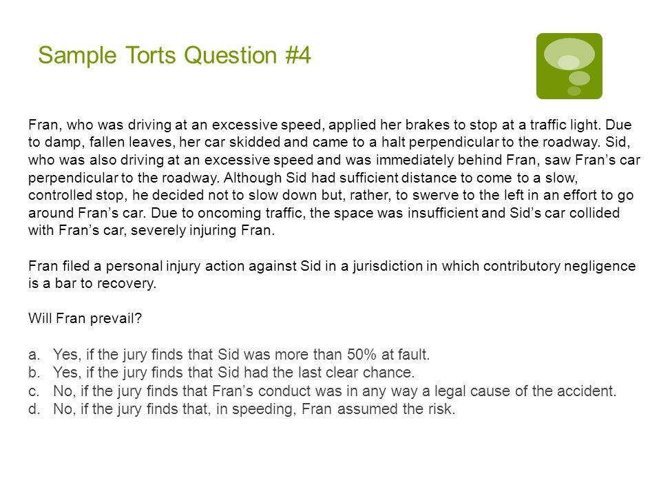 Sample Torts Question #4