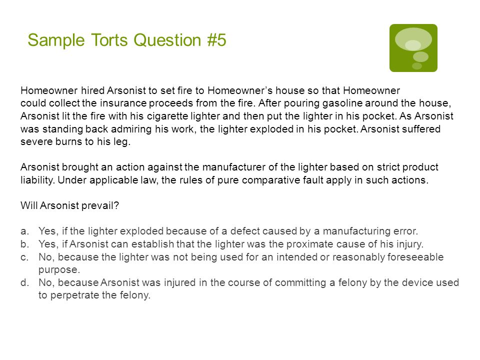 Sample Torts Question #5