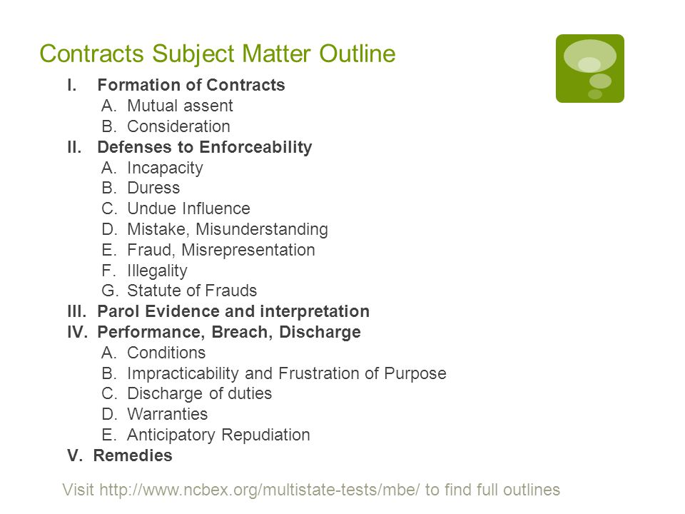 Contracts Subject Matter Outline