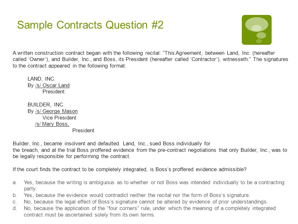 Sample Contracts Question #2