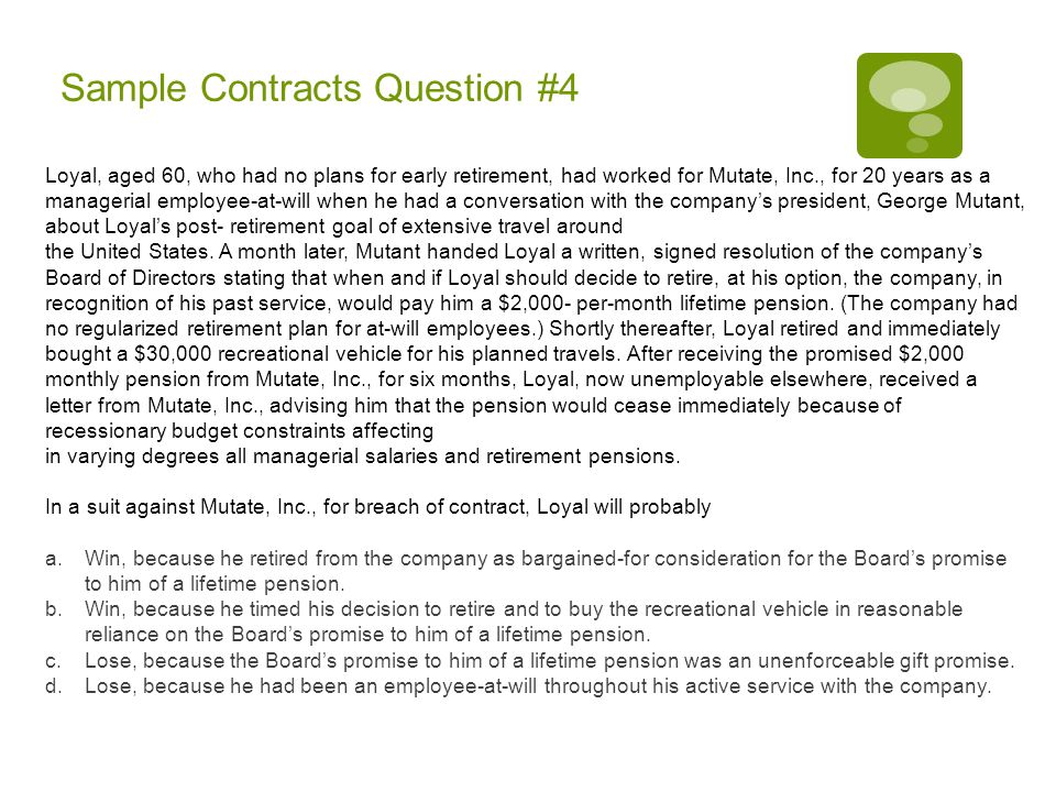 Sample Contracts Question #4