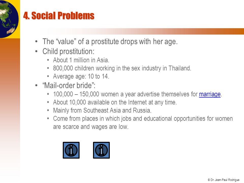 4. Social Problems The value of a prostitute drops with her age.