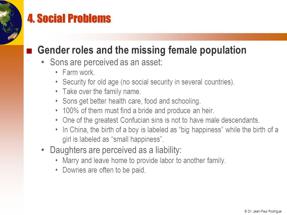 Gender roles and the missing female population