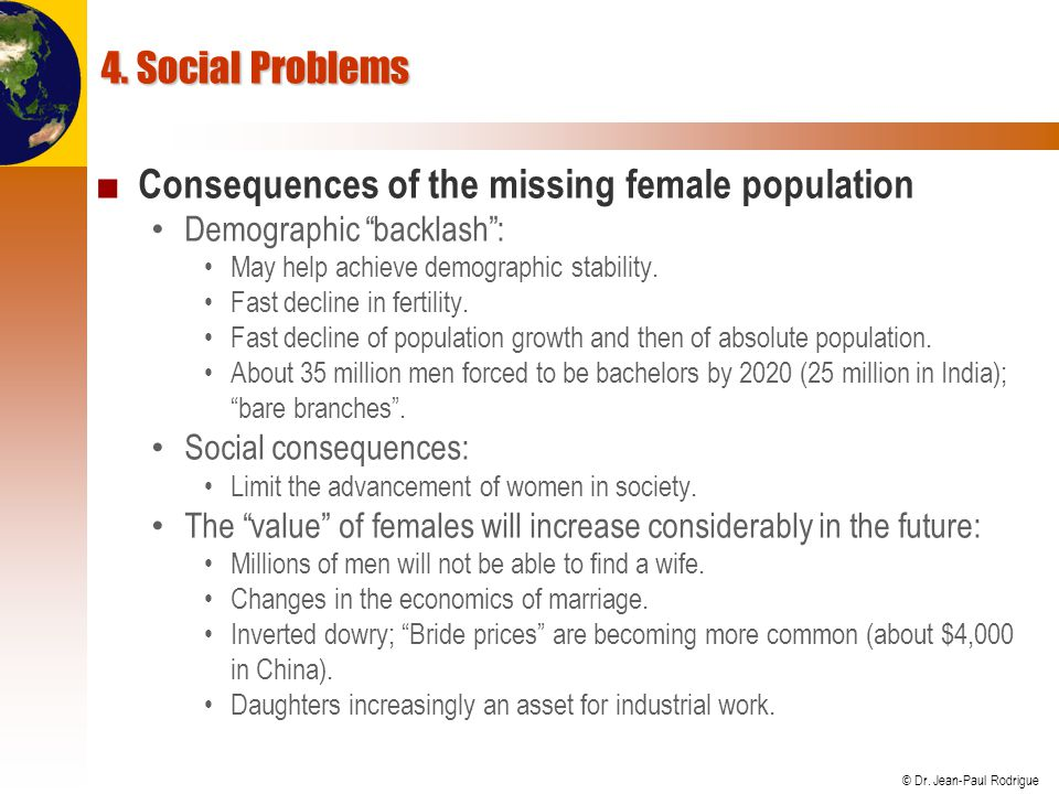 Consequences of the missing female population