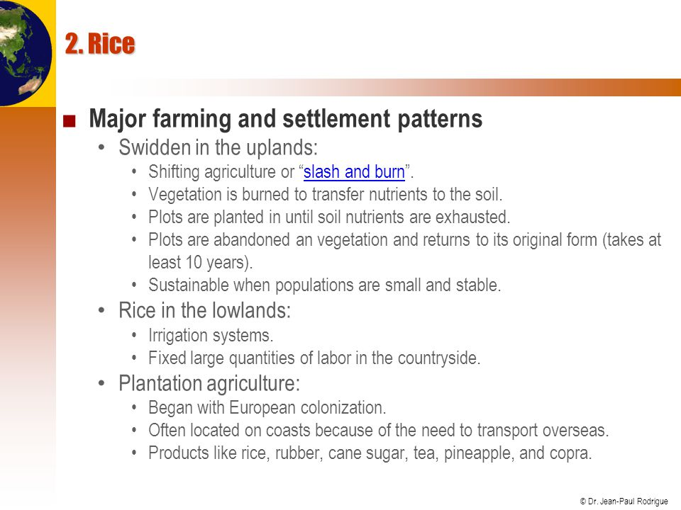 Major farming and settlement patterns