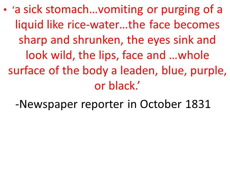-Newspaper reporter in October 1831