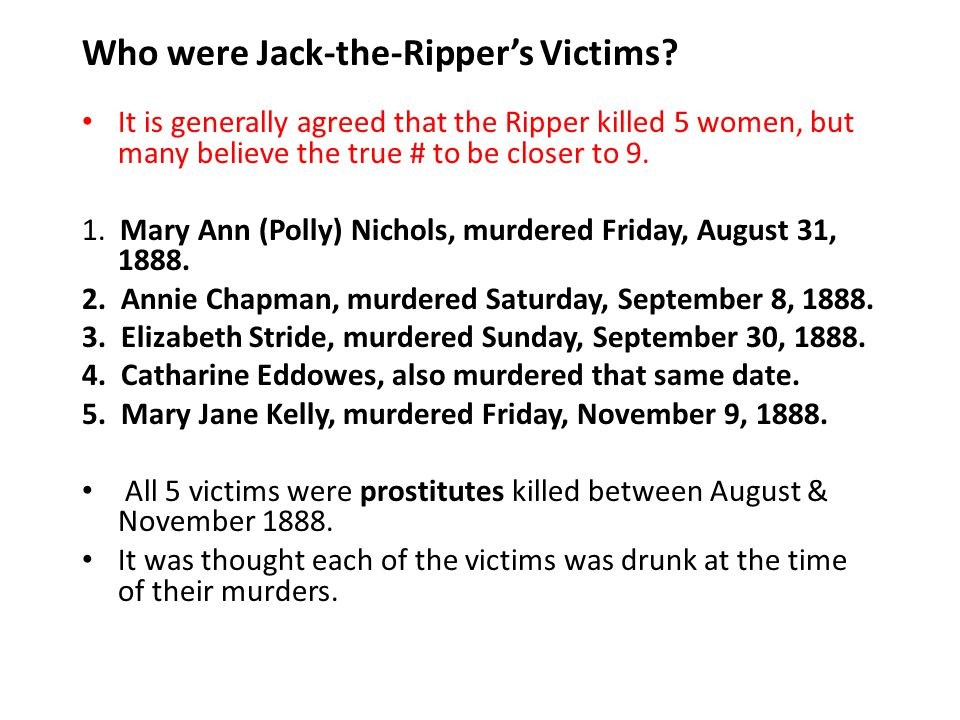 Who were Jack-the-Ripper's Victims
