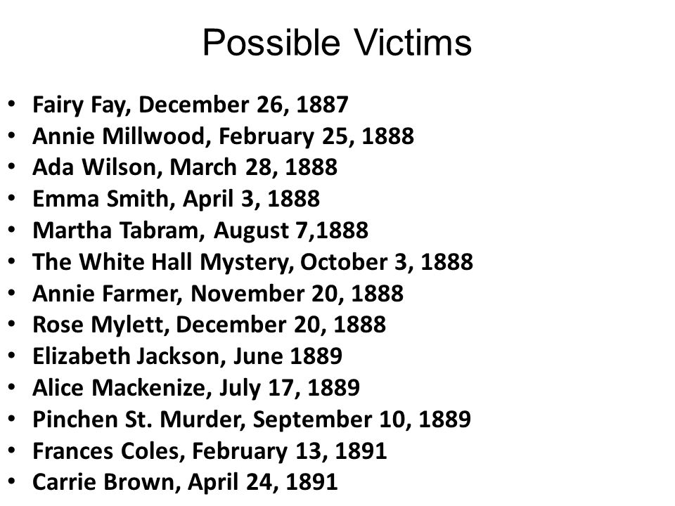 Possible Victims Fairy Fay, December 26, 1887