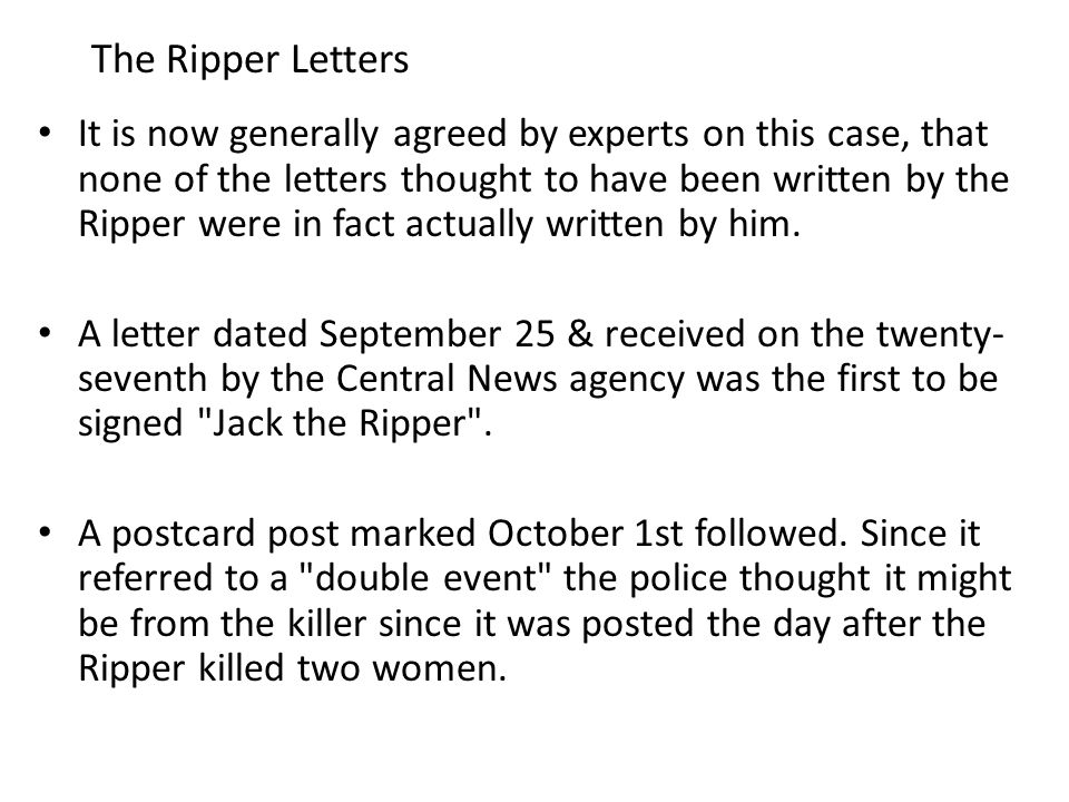 The Ripper Letters