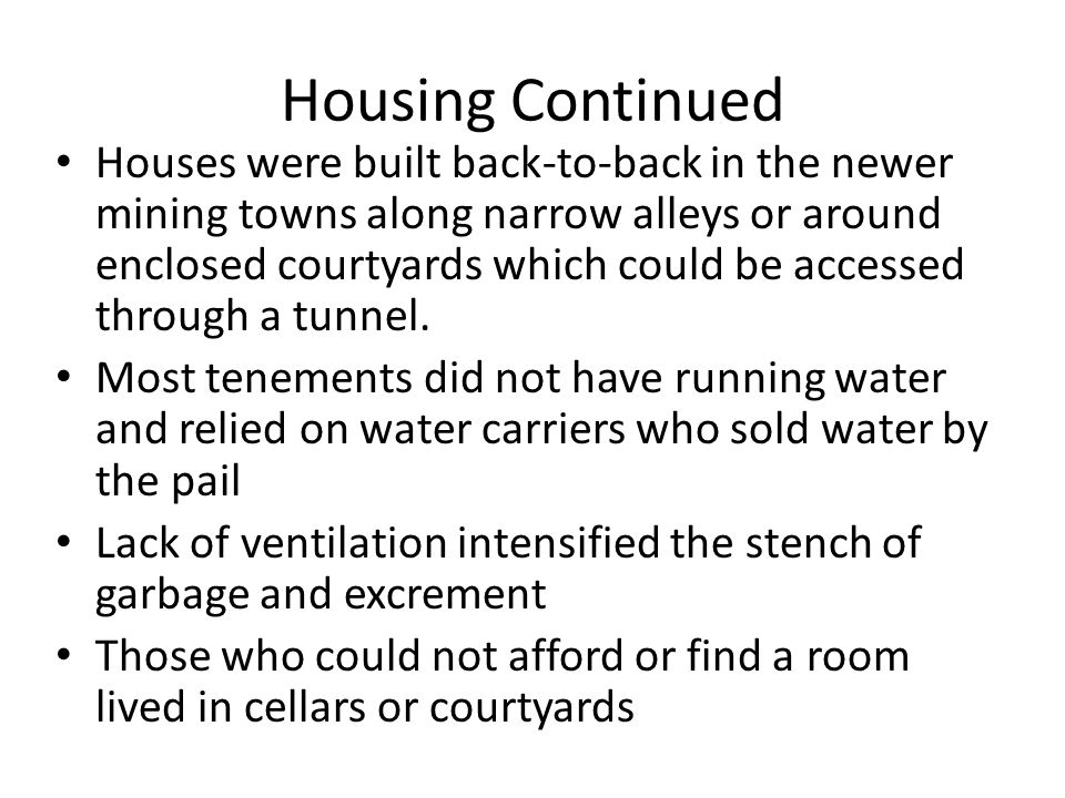 Housing Continued