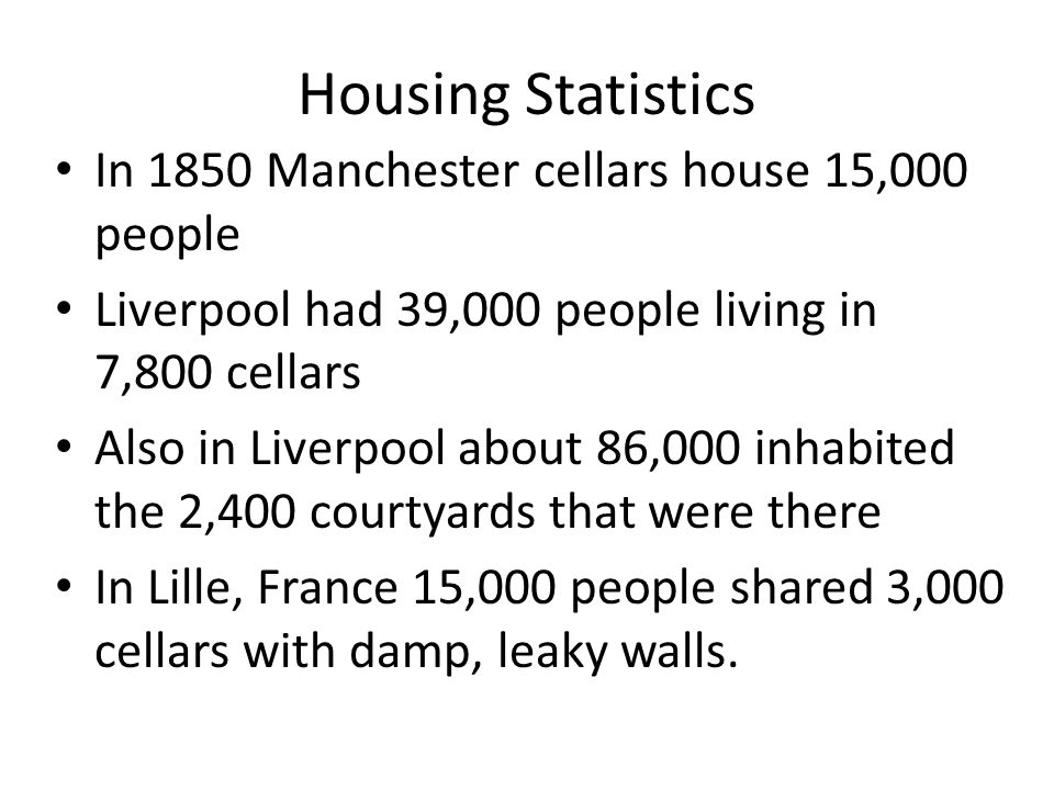 Housing Statistics In 1850 Manchester cellars house 15,000 people