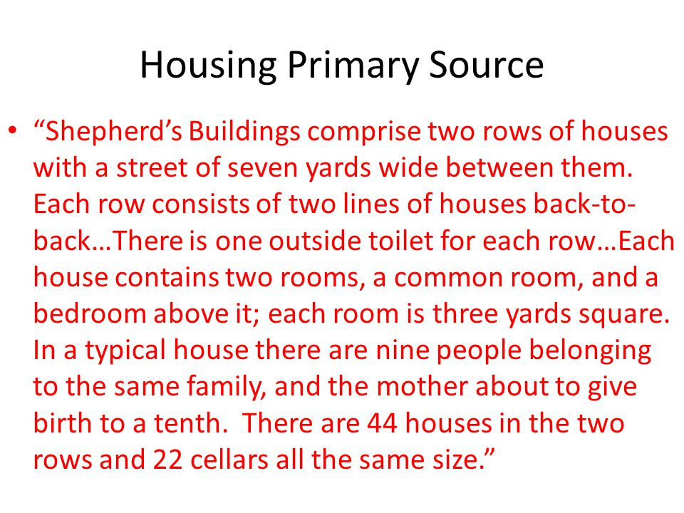Housing Primary Source