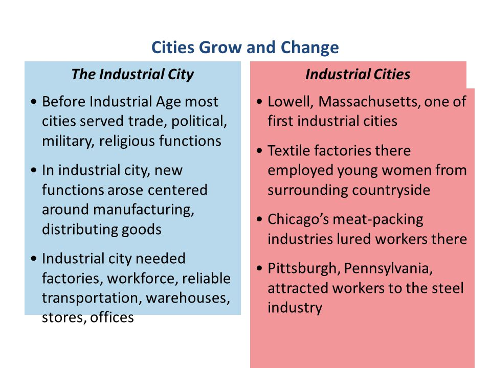Cities Grow and Change Before Industrial Age most cities served trade, political, military, religious functions.