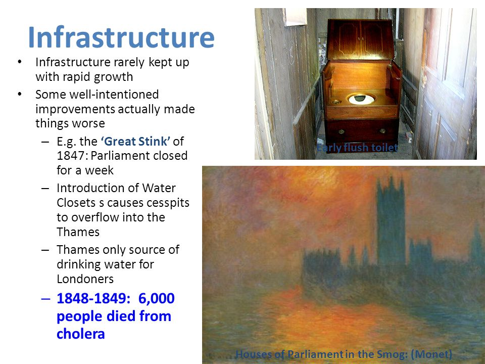 Infrastructure 1848-1849: 6,000 people died from cholera