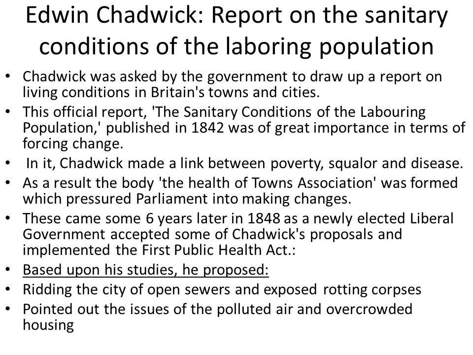 Edwin Chadwick: Report on the sanitary conditions of the laboring population