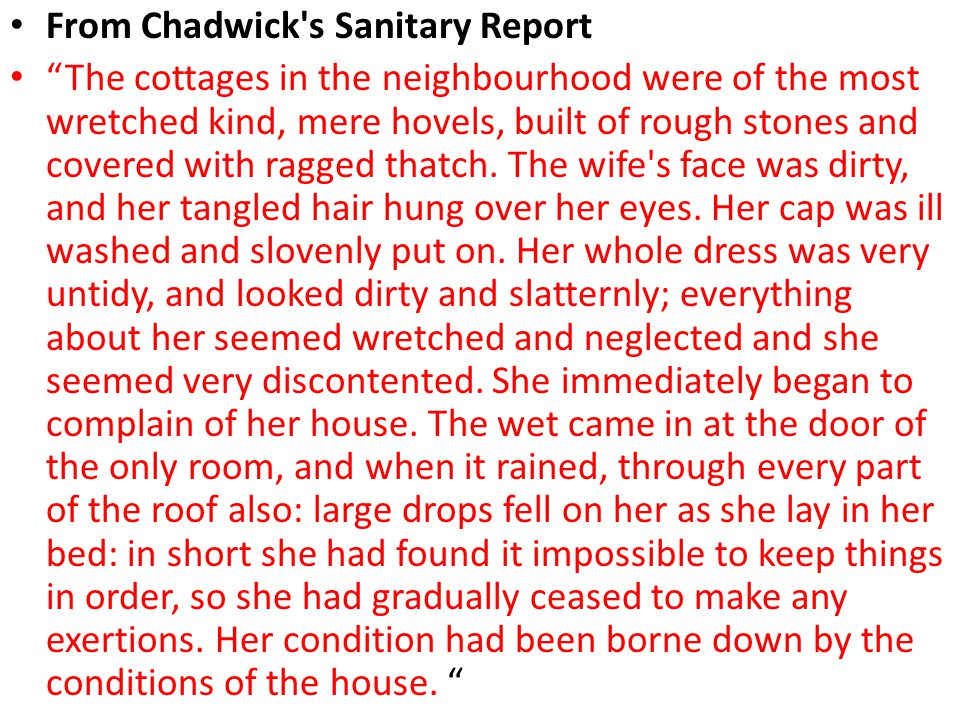 From Chadwick s Sanitary Report