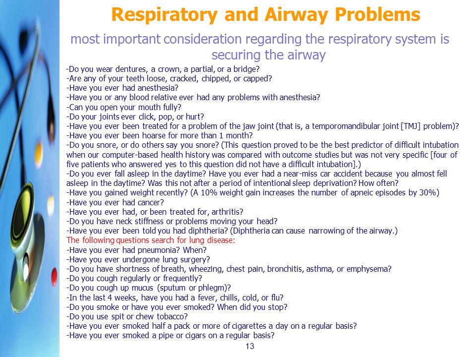 Respiratory and Airway Problems
