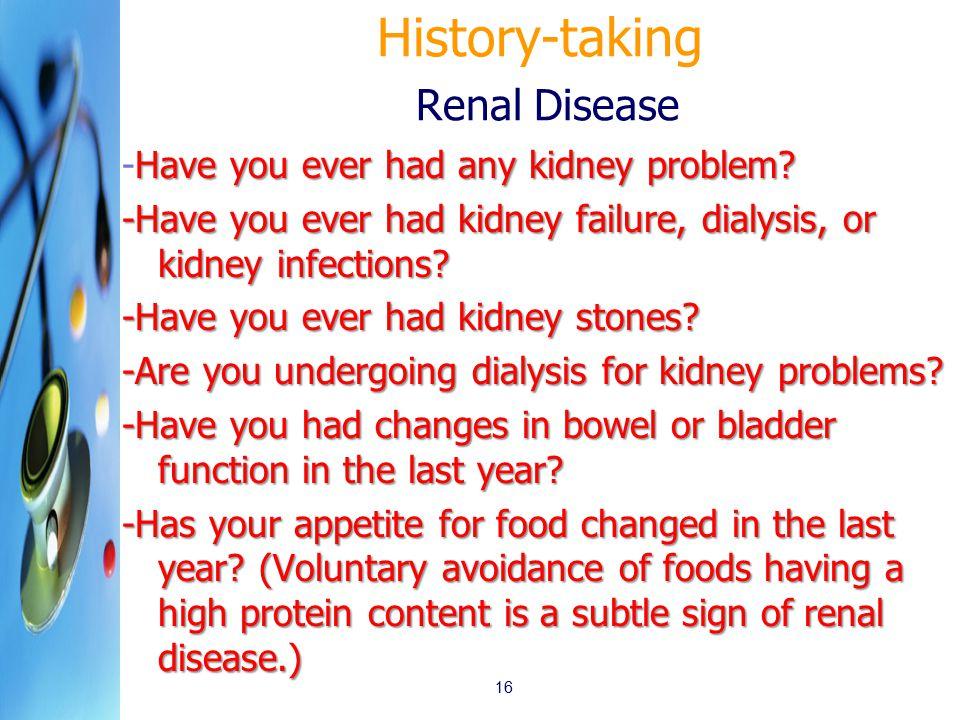 History-taking Renal Disease