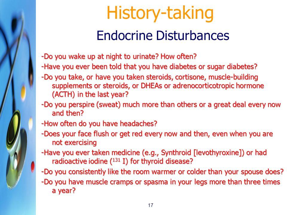 History-taking Endocrine Disturbances
