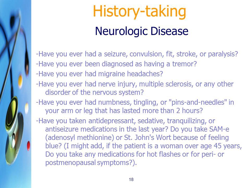 History-taking Neurologic Disease