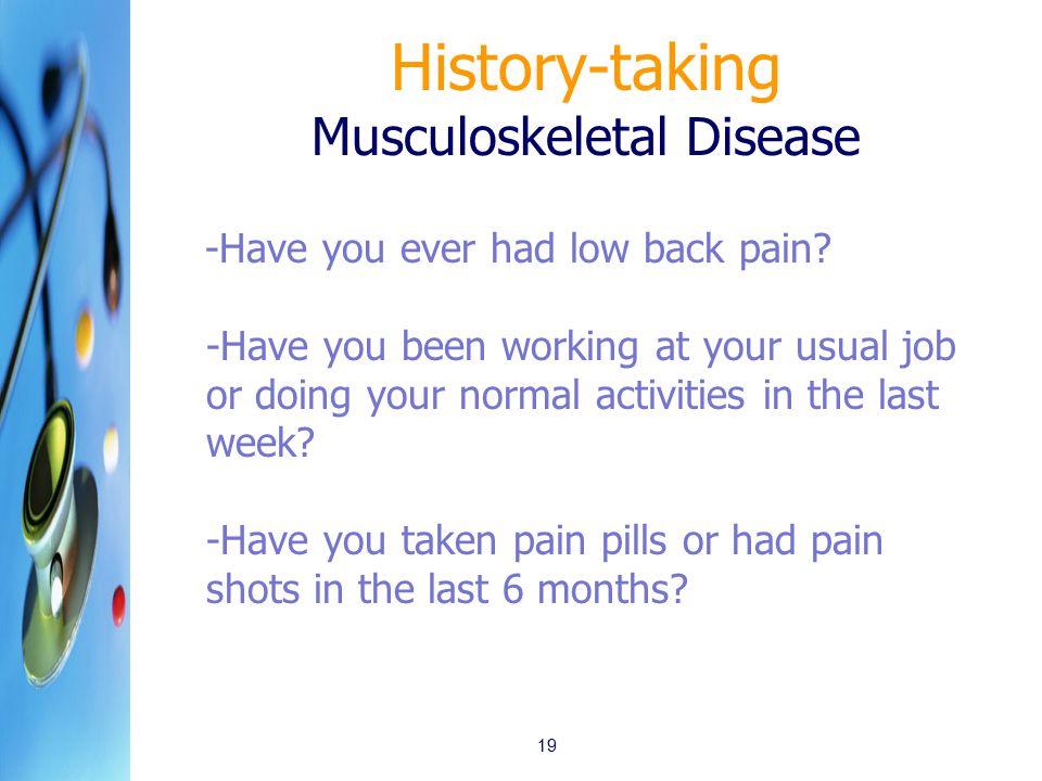 History-taking Musculoskeletal Disease