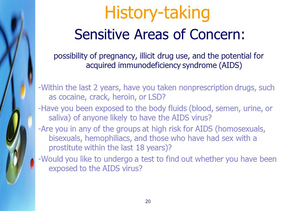 History-taking Sensitive Areas of Concern: