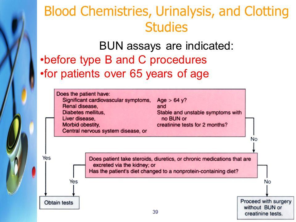 Blood Chemistries, Urinalysis, and Clotting Studies