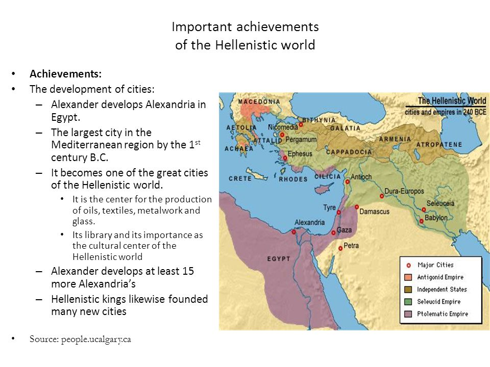 Important achievements of the Hellenistic world