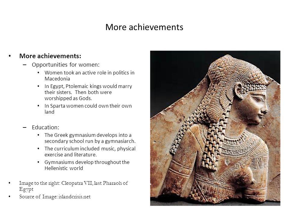 More achievements More achievements: Opportunities for women: