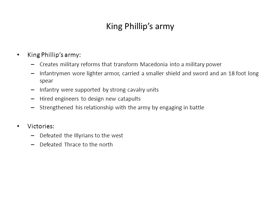 King Phillip's army King Phillip's army: Victories: